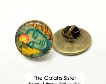 BUDDHA Badge • Sleepiing Buddha • Buddha Face • Thai Buddha • Gift for a Buddhist • Brooch/Lapel Pin • Made in Australia (B0405)