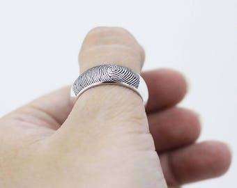 SALE 30% OFF - Actual Signature Ring - Your Actual Fingerprint Ring - Handwriting Ring - Silver Jewelry - Bridal Sets