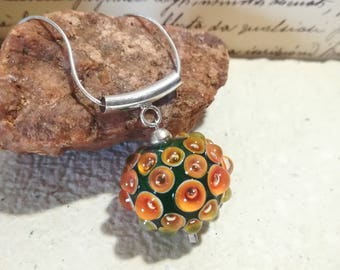 Glass Bead, murano glass and sterling silver