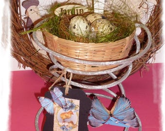 "Decoration for Easter""Spring"", with nest & real eggs quail, Panel and tag, butterflies..."