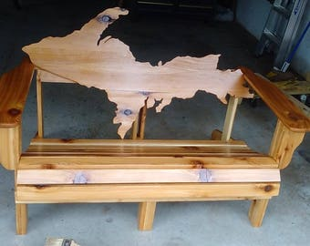 Michigan Upper Peninsula Handcrafted Cedar Bench unique outdoor wood furniture