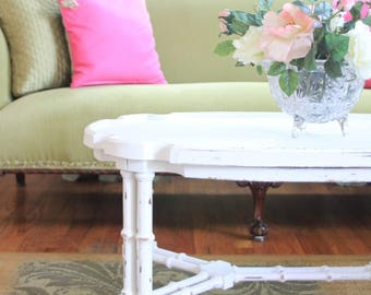 Vintage Coffee Table Painted White Distressed