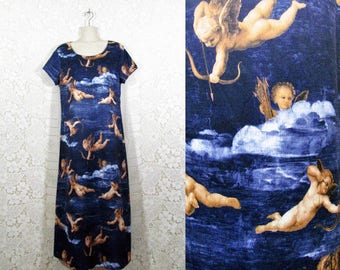 Vintage 90s Cherub Print Maxi Dress