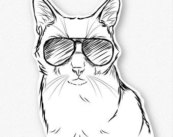 Maverick the Cat Vinyl Decal Sticker - Gift For Cat Owner, Cat Sticker, Cool Cat, Cat Laptop Sticker, Cat decal