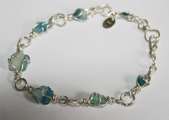 TURQUOISE MULTI SEAGLASS Bracelet - set in Sterling silver