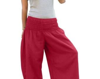 Thai Pants * Harem Pants * Harem Trousers * Sarouel * Yoga Pants * Baggy Pants * Travel * Gypsy * Hippie * Aladdin *Genie*Cotton*PS-bordeaux