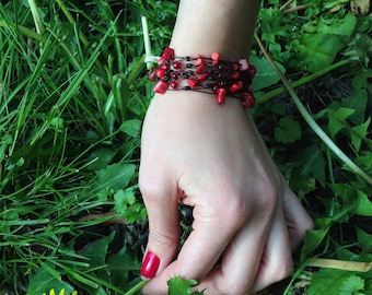 Fairtrade Woven Bracelet with Red Stones - Handmade in Thailand - on SALE
