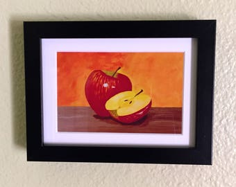 Apple Painting Gift, Apple Art, Fruit Painting, Kitchen Art, Kitchen Decor, Still Life,  FINE ART Print, Frame INCLUDED,  6x8in