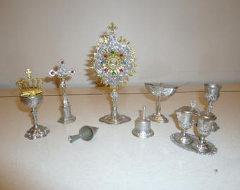 Religious art rare miniature lot 12 church ceremonial metal items monstrance crucifix circa 1920s