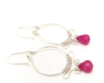 Pink earrings, wire wrapping pink jade earrings sterling silver pin jade wire wrapping earrings pink Jewelry