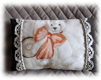 Bear velvet and lace pillow