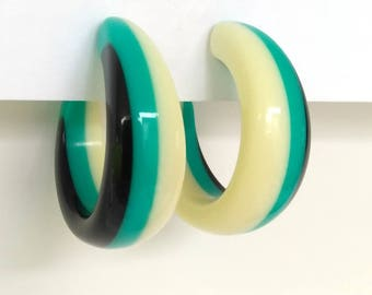 Chunky Multicolored Lucite Hoop Earrings, Turquoise Black and Ivory Hoops Tri Color Hoops Retro Lucite Plastic Hoops