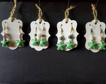 Starfish Cloisonne earrings