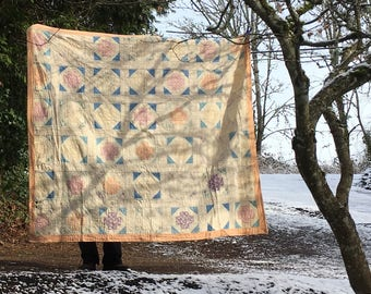 Vintage Peach and Blue Quilt- hand quilted