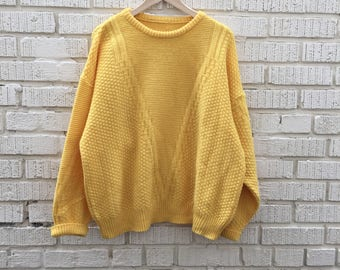 Vintage Yellow Sweater. Neon Cable Knit Pullover Sweater. Large.