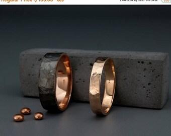SALE Black and Bright 14k Rose Gold Faceted Wedding Rings Set|Handmade 14k black gold textured faceted wedding bands set 3mm, 4mm, 5mm, 6mm