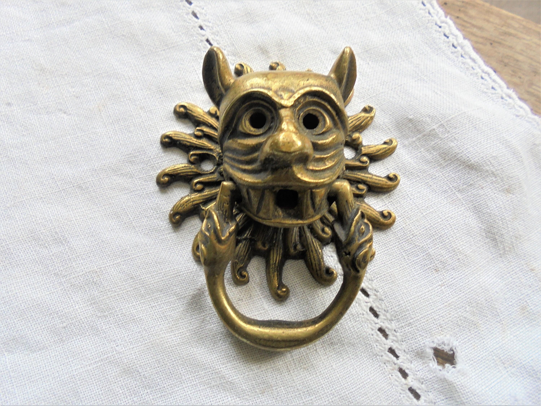 Vintage Face Door Knocker Drawer Pull Gothic Gargoyle
