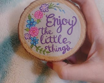 Hand painted wood slice magnet