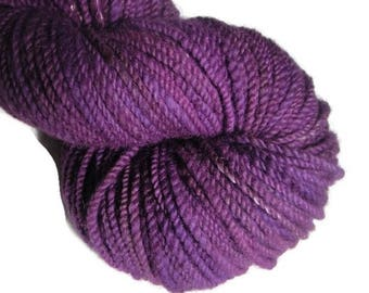 Hand dyed and hand spun two ply bulky yarn, 180 yards