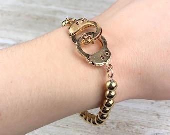 Handcuff Beaded Bracelet Fill Gold