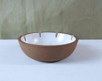 Vintage Heath Ceramics 4-Notch Ashtray - White with Ribbed Exterior - Edith Heath Pottery Ashtray