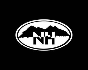 New Hampshire Decal NH State Oval Vinyl Decal Sticker NH Mountains Car Decal Laptop Tablet Window Bumper Wall Macbook