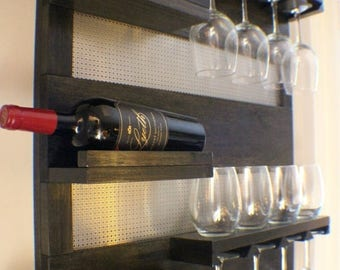 ON SALE Modern Ebony And Chrome, Stained Wall Mounted Wine Rack with  Shelves and Decorative