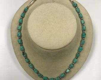 """d127 Vintage Elegant Sterling Silver Turquoise Beads Women's Necklace 22"""" Long"""