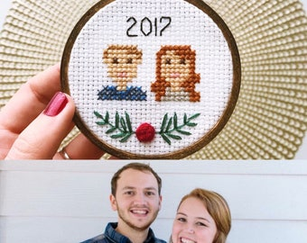2018 Personalized Family Christmas Ornament, Christmas Gift for Wife, Gift for Mom, Custom Portrait, 2018 Ornament, Gift for Family