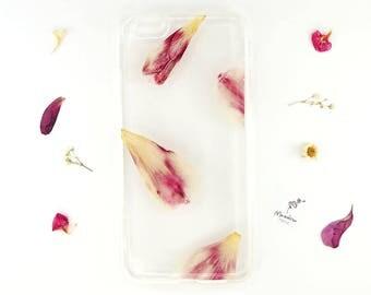 iPhone 6 Plus case with real pressed tulip petals