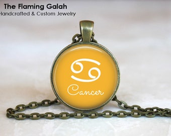 CANCER STAR SIGN Pendant • Cancer Symbol • July Star Sign • July Birth Sign • Cancer Zodiac • Gift Under 20 • Made in Australia (P1356)