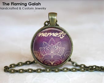 NAMASTE MANDALA Pendant • Purple Mandala • Peace Love • Yogi • Yoga • Hindu • Meditation • Gift Under 20 • Made in Australia (P1553)