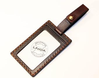 ID Card Holder, Leather Card Tag, Luggage Tag,Business Card Cover, Brown ID Card Cover, Leather Luggage Tag Cover, Bsiness ID Card Cover.