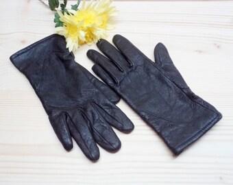 Vintage Women's Leather Gloves - Black Genuine Leather Gloves - Small Size Gloves - TIANMA Size 7 Gloves - Winter Gloves for Her