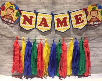 Curious George Birthday Party Wall Tassel Garland, Personalized Name Banner Bunting, Handmade Decorations