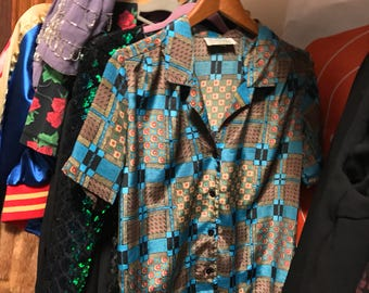 Cool Vintage Printed Button Down by Impressions