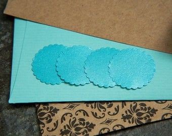 SPECIAL OFFER 100 Turquoise Round Envelope seals, Scalloped stickers. Wedding Favour stickers, gift bag seals. Matt Pearlised stickers.