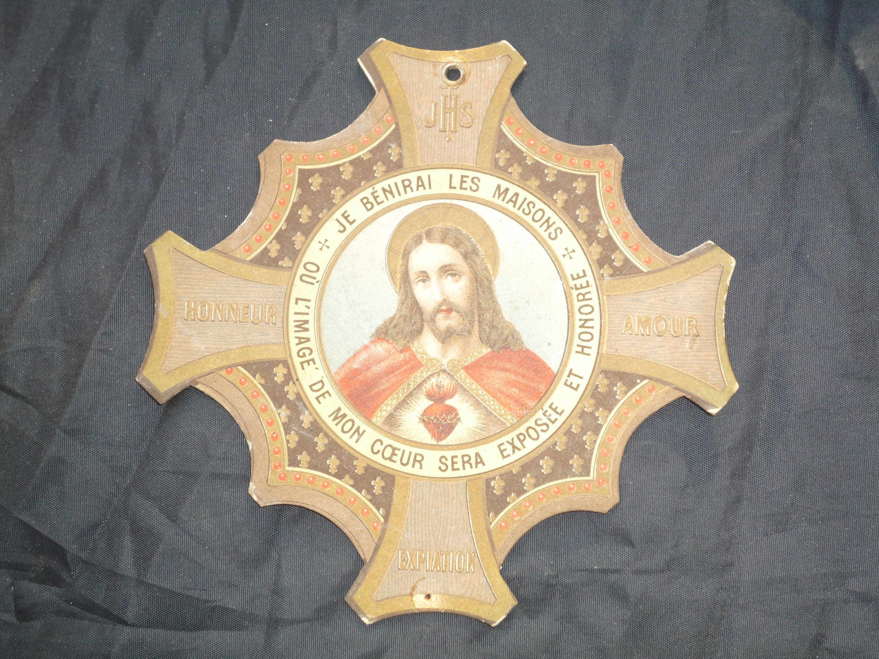 God Bless Our Home Antique French Sacred Heart of Jesus plaque ...