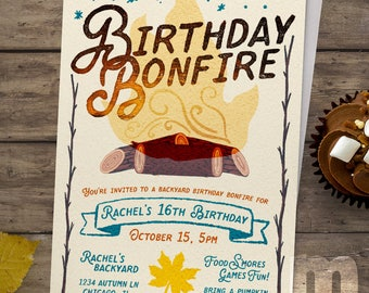 Kids Birthday Invitation, Backyard Birthday Bonfire, Kids Birthday Card, Digital Invitations, Digital Birthday Card, Printable Invitation