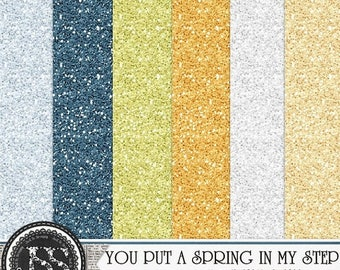 On Sale 50% You Put A Spring In My Step 12x12 Glitter Sheets Digital Scrapbooking Kit