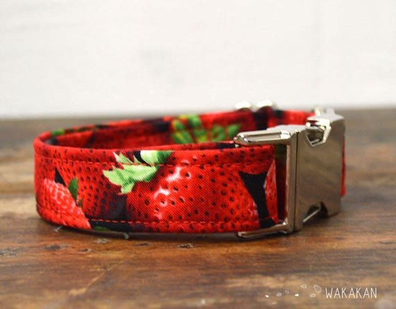 Strawberries dog collar adjustable. Handmade with 100% cotton fabric. fruity pattern, summer. Wakakan
