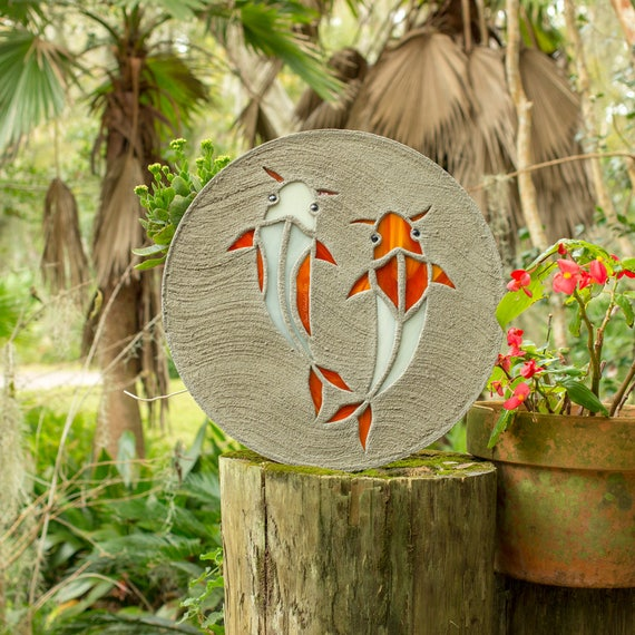 Koi Fish Goldfish Stepping Stone Made of Stained Glass and Concrete Perfect for Your Garden Patio or Back Yard Fish Pond or Pool Path #764