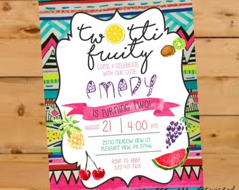 Tutti Frutti Party, Two-Tti Fruity Birthday Invite, Twotti Frutti Invitation, Twotti Fruitti Birthday, Second Birthday, Summer Birthday