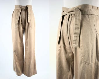 1970's Khaki Cotton High-waisted Flared Pants