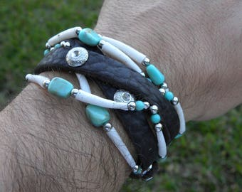 Double Wrap cuff  bracelet  wristband  genuine good luck Native Indian  dentalium shells Bison leather nice gift 7 to 8 inch wrist size