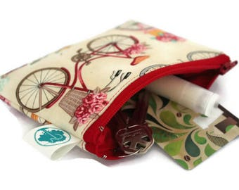 Coin Purse - Coin Bag - Change Purse - Small Cosmetic Bag - Zipper Pouch - Change Pouch in Bicycle
