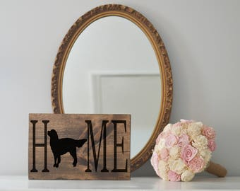 Home Sign with Golden Retriever Silhouette on Wood, Dog Decor, Dog Painting, Housewarming Gift, Farmhouse Sign, House Decor, Dog Decor