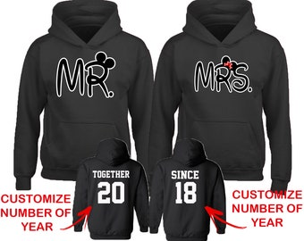 Couple Matching HOODIES NEW Mr Mrs Together Since Back Side Date Numbers Front Back Matching Couple Sweatshirts