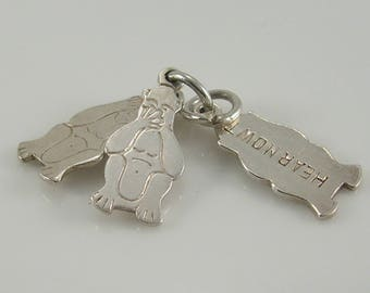 Vintage 3D Sterling Silver See Nowt,Hear Nowt,Say Nowt Three Wise Monkeys Charm