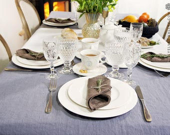 Light charcoal grey linen tablecloth- softened stonewashed linen tablecloth- rectangular, round, square, custom sizes.